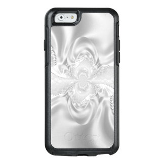 Silver Satin Damask White Pearls Fabric Plush OtterBox iPhone 6/6s Case
