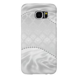 Silver Satin Damask White Pearls Fabric Plush Samsung Galaxy S6 Cases
