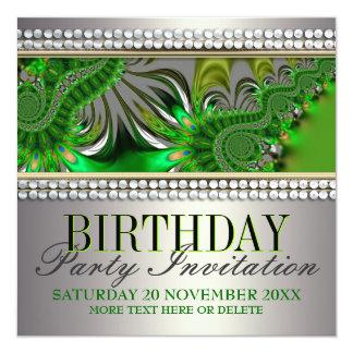 Silver Satin Green Swirl Birthday Party Invitation