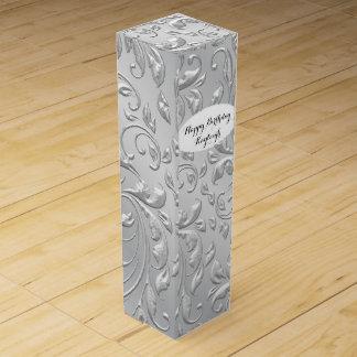 Silver Satin Personalized Wine Box