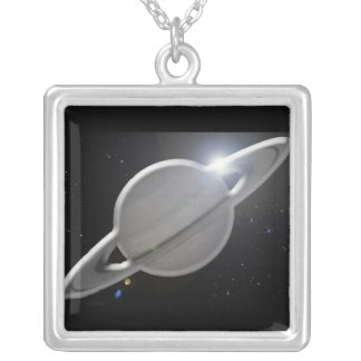 silver saturn silver plated necklace