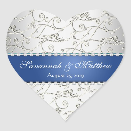 Silver Save the Date Royal Blue Wedding Seal
