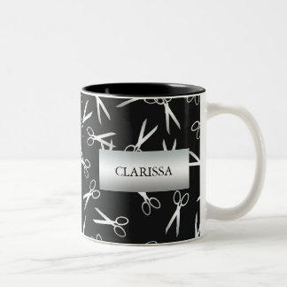 Silver Scissors   Custom Name Two-Tone Coffee Mug