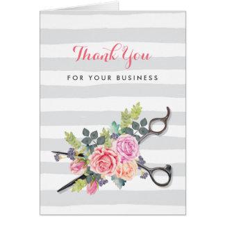 Silver Scissors Stripes Pink Floral Hair Salon Card