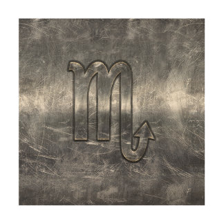 Silver Scorpio Zodiac Sign Distressed Metal Style Wood Prints