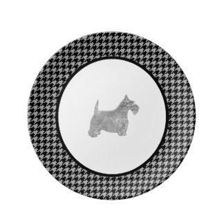 Silver Scottie Your Color Houndstooth Porcelain Plates