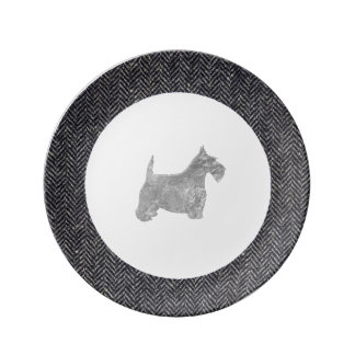 Silver Scottish Terrier With Herringbone Porcelain Plate