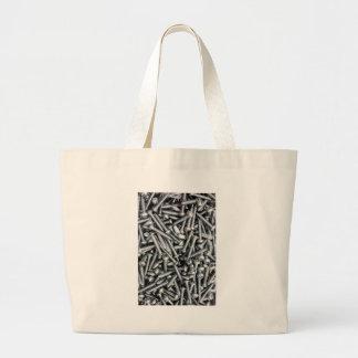 Silver Screws - Tool Print Large Tote Bag