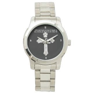 silver scripture watch