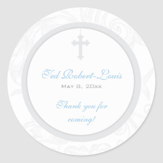 Silver Scroll Cross Address Label/Favor Sticker