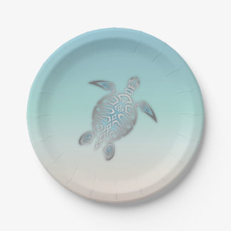 Silver Sea Turtle  Beach Style 7 Inch Paper Plate