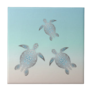 Silver Sea Turtle Beach Tile