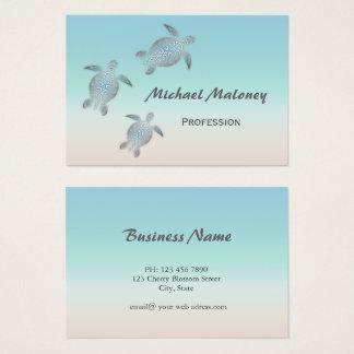 Silver Sea Turtle Business Card