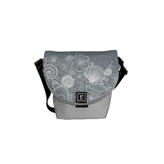 Silver Seashells Underwater Mini Handbag Messenger Courier Bag