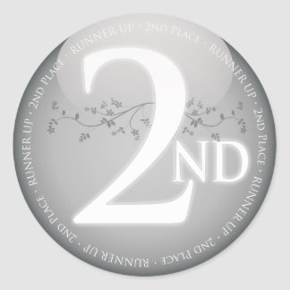 Silver Second Place (2nd) Award Round Sticker