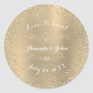 Silver Sepia Glitter Save the Date Love Is Sweet Classic Round Sticker
