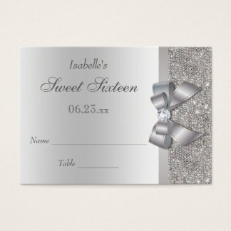 Silver Sequin Bow Sweet 16 Seating Cards
