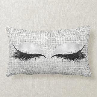 Silver Sequin Glitter Black Glam Makeup Lashes1 Lumbar Pillow