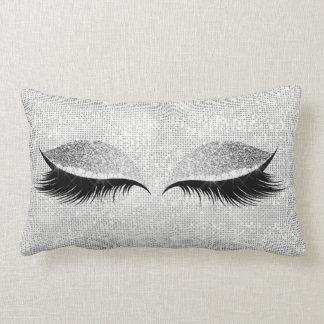 Silver Sequin Glitter Black Glam Makeup Lashes Lumbar Pillow