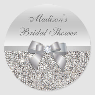 Silver Sequins Bow Bridal Shower Stickers