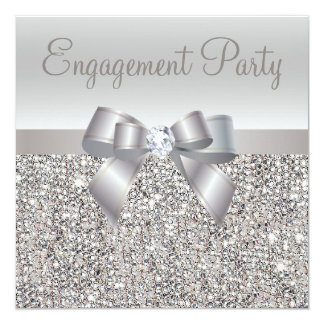 "Silver Sequins, Bow & Diamond Engagement Party 5.25"" Square Invitation Card"