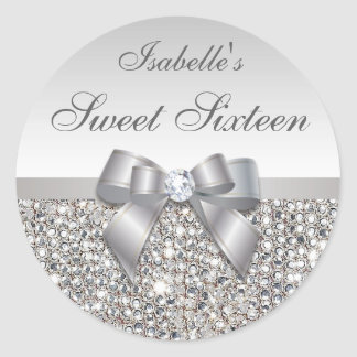 Silver Sequins Bow Diamond Sweet Sixteen Round Sticker