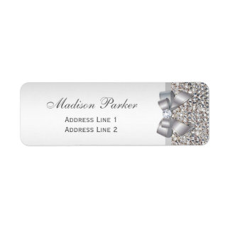 Silver Sequins Bow Wedding Personalized Return Address Label