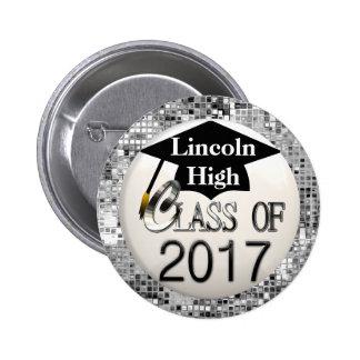 Silver Sequins Class Of 2017 Graduation Button