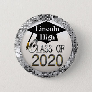 Silver Sequins Class Of 2020 Graduation Button