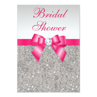 Silver Sequins Hot Pink Bow Bridal Shower 5x7 Paper Invitation Card