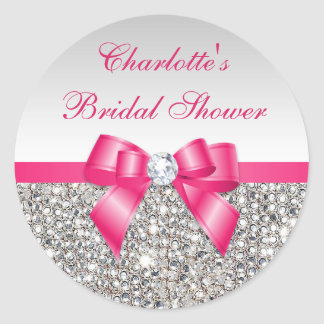 Silver Sequins Hot Pink Bow Diamond Bridal Shower Classic Round Sticker
