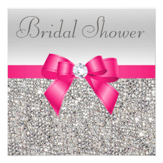 Silver Sequins Hot Pink Bow Diamond Bridal Shower Invites