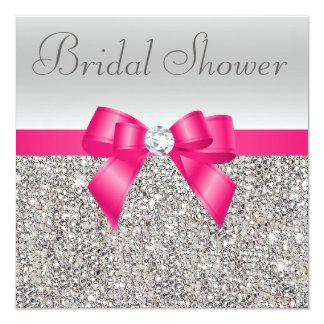 "Silver Sequins Hot Pink Bow Diamond Bridal Shower 5.25"" Square Invitation Card"