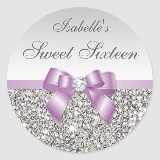 Silver Sequins Lilac Bow Diamond Sweet Sixteen Round Sticker