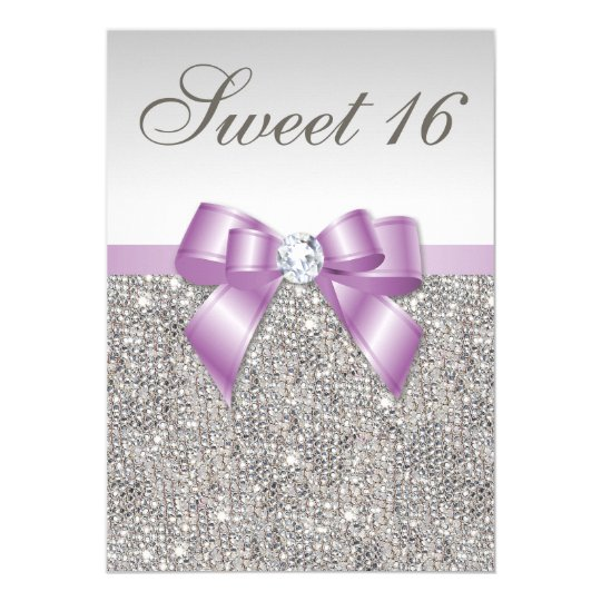 Silver Sequins Lilac Faux Bow Sweet 16 Card