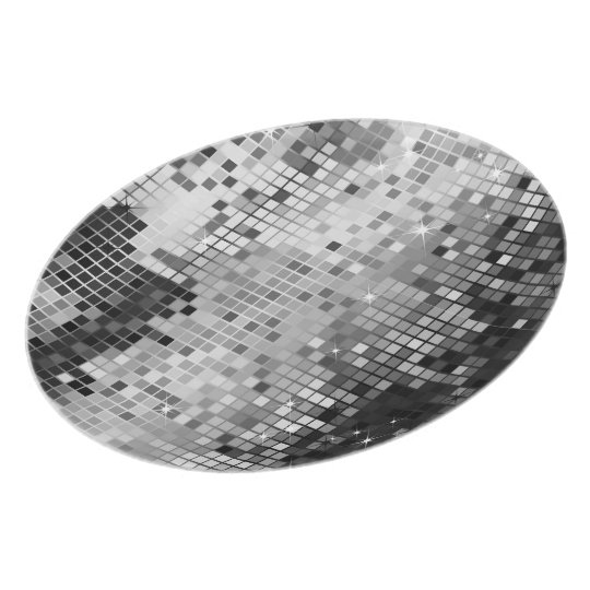Silver Sequins Look-Disco Glitter Plate