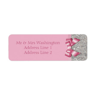Silver Sequins Pink Bow and Diamond Return Address Label