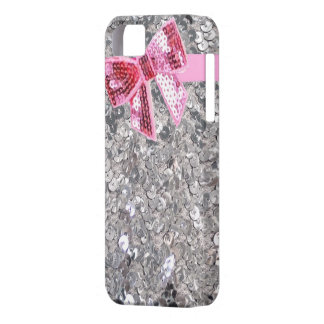 silver sequins/pink bow iphone5 case