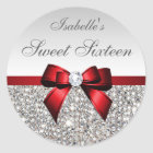 Silver Sequins Red Bow Diamond Sweet Sixteen Classic Round Sticker