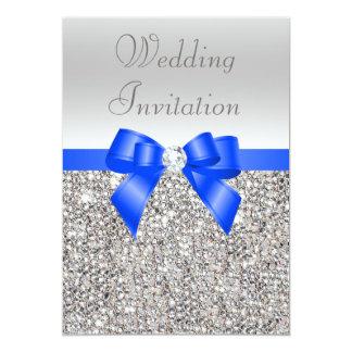 "Silver Sequins Royal Blue Bow and Diamond Wedding 5"" X 7"" Invitation Card"