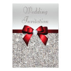 Silver Sequins Royal Red Bow and Diamond Wedding Card