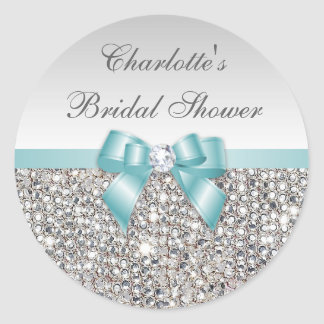 Silver Sequins Teal Bow Diamond Bridal Shower Round Sticker