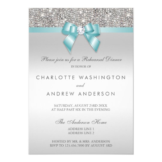 Silver Sequins Teal Bow Wedding Rehearsal Dinner Card