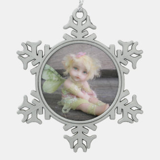 Silver Shabby Fairy Snowflake Pewter Christmas Ornament