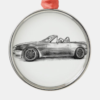 Silver Shadow MX5 Silver-Colored Round Ornament