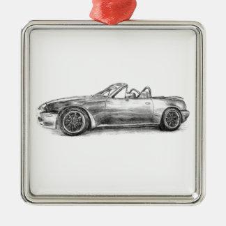 Silver Shadow MX5 Silver-Colored Square Ornament