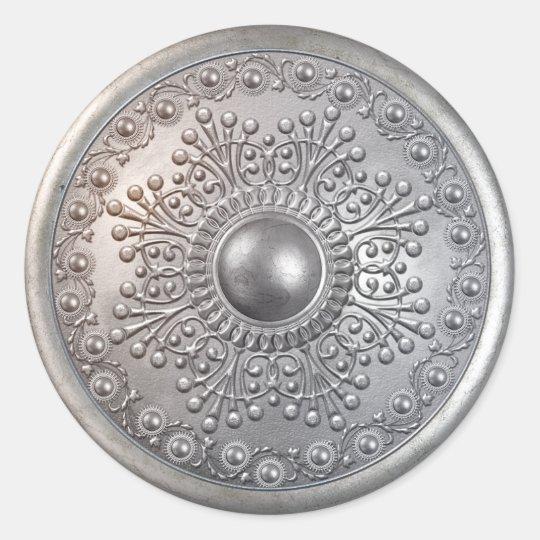 Silver Shield 8 Round Sticker