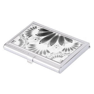 Silver Shikoba, Beautiful BnW Fractal Feathers Business Card Holder