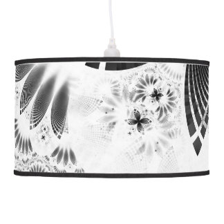 Silver Shikoba, Beautiful BnW Fractal Feathers Pendant Lamp