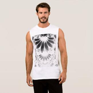 Silver Shikoba, Beautiful BnW Fractal Feathers Sleeveless Shirt